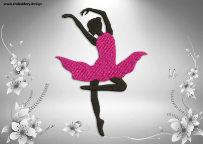 This Ballerina's entree design was digitized and embroidered by www.embroidery.design.