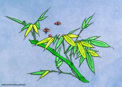 This Bamboo branch with beetles design was digitized and embroidered by www.embroidery.design.