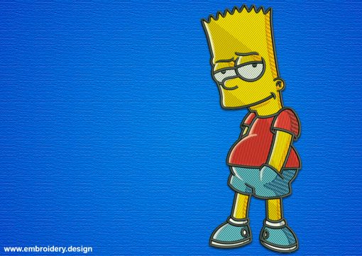 The embroidery design Bart Simpson is rebellious, mischievous and cool.