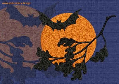 This Bat under the Moon design was digitized and embroidered by www.embroidery.design.