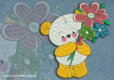 This Bear cub and bouquet design was digitized and embroidered by www.embroidery.design.