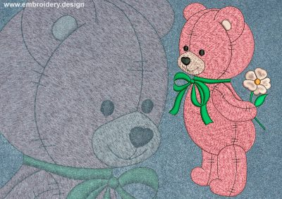 This Bear with gift design was digitized and embroidered by www.embroidery.design.