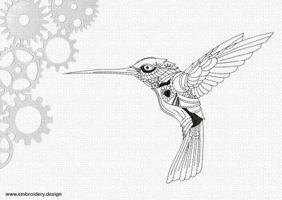 The embroidery design Beautiful colibri