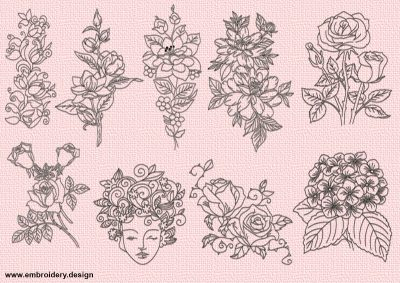 The pack of embroidery designs Beautiful flowers contains 9 items. Each of them is provided in 3 sizes.