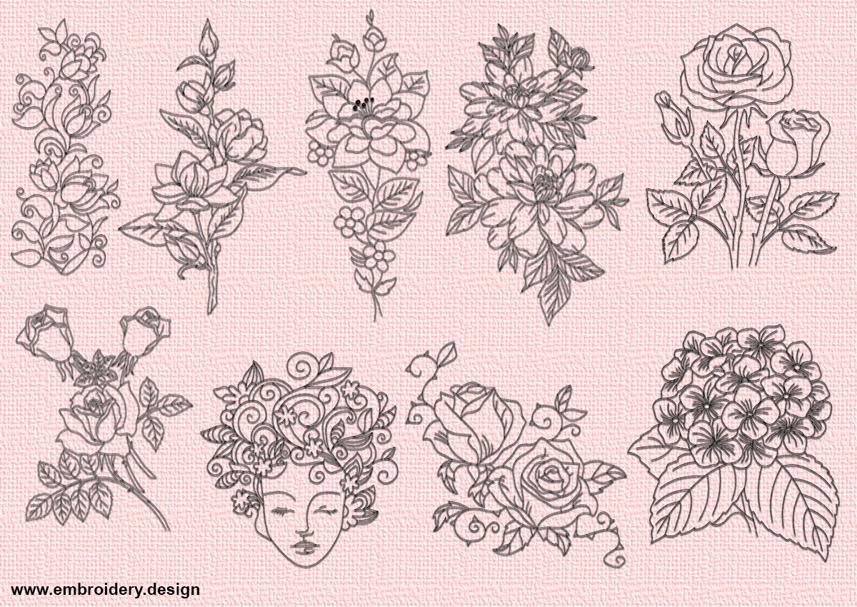 Beautiful Flowers Embroidery Designs Pack 9 Qty