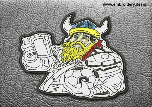 This Biker Patch Viking With Mug of Beer design was digitized and embroidered by www.embroidery.design.