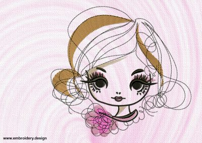 The embroidery design Big-eyed girl will make the clothes look quite unique