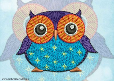 This Big-Eyed owl design was digitized and embroidered by www.embroidery.design.