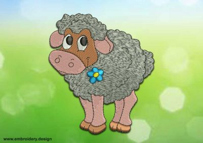 This Big-eyed sheep design was digitized and embroidered by www.embroidery.design.