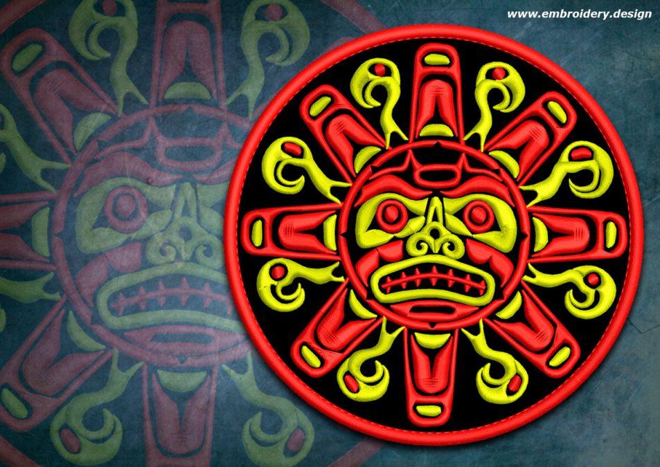 Biker patch Aztec sun