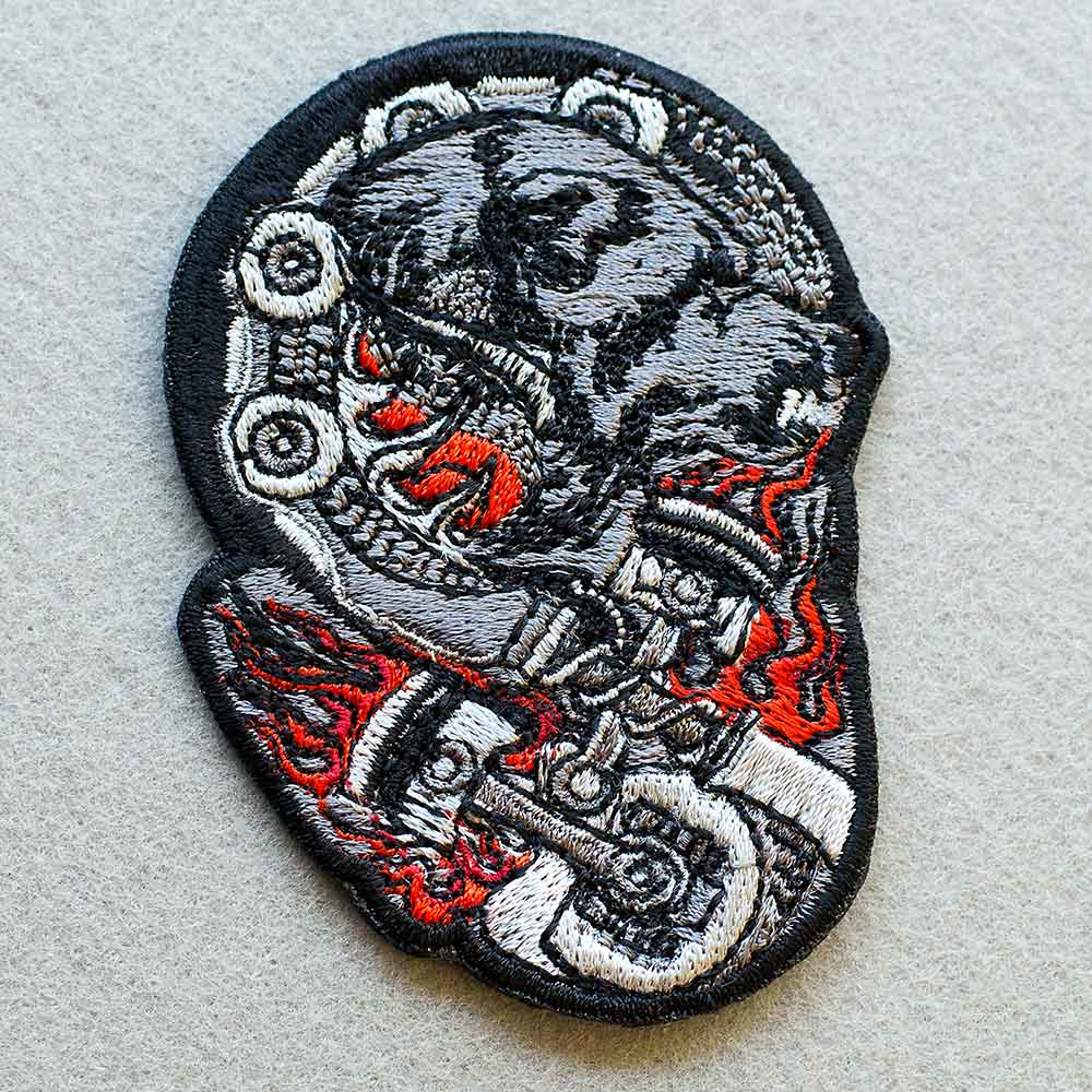 Photo 1 - This Bear Biker patch (biker_patch_bear_bike_photo.jpg) - www.embroidery.design
