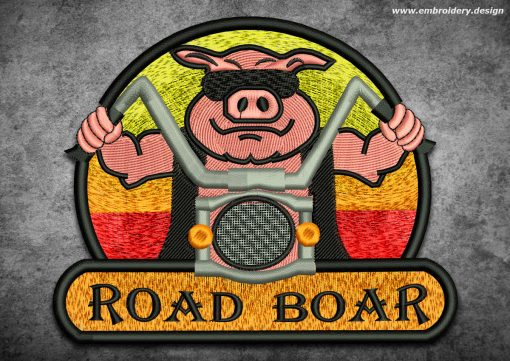 This Biker patch Boar on bike design was digitized and embroidered by www.embroidery.design.