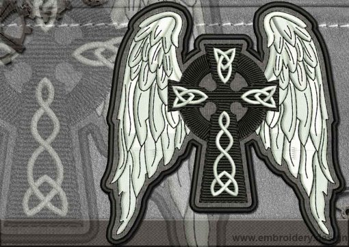 This Biker patch Celtic Cross design was digitized and embroidered by www.embroidery.design.