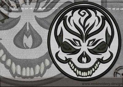 This Biker patch Cheerful Skull design was digitized and embroidered by www.embroidery.design.