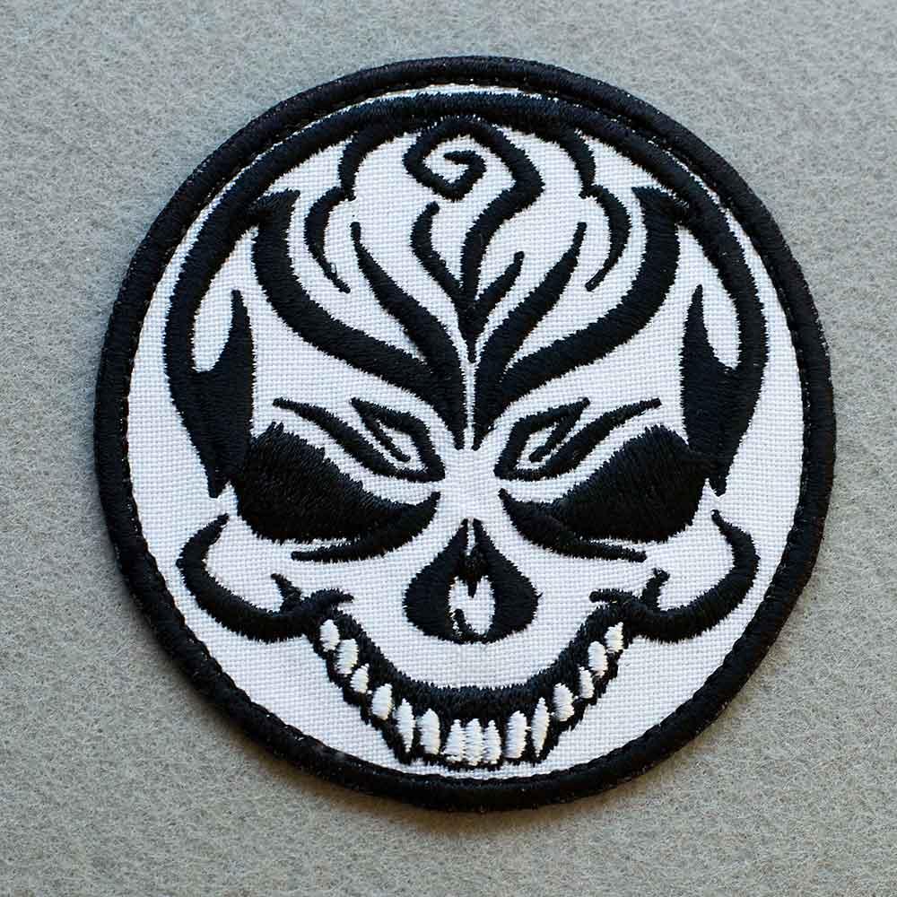 Photo 1 - This Cheerful Skull Biker patch (biker_patch_cheerful_skull_bike_photo.jpg) - www.embroidery.design