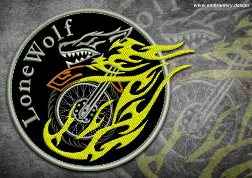 This Biker patch Crazy lone wolf design was digitized and embroidered by www.embroidery.design.