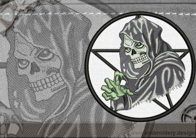 This Biker patch Death design was digitized and embroidered by www.embroidery.design.