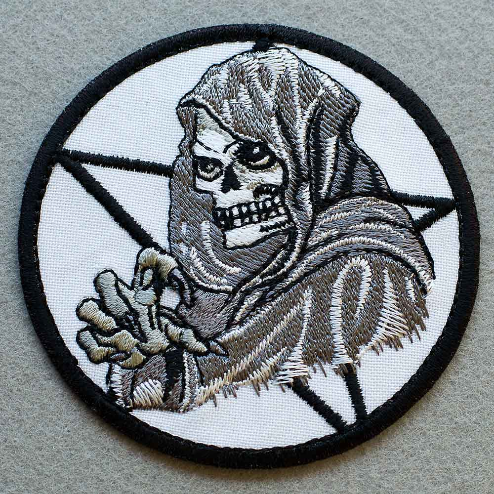 Photo 1 - This Death Biker patch (biker_patch_death_bike_photo.jpg) - www.embroidery.design