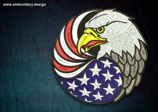 This Biker patch Eagle with USA flag design was digitized and embroidered by www.embroidery.design.