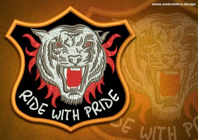 This Biker patch Fanged tiger design was digitized and embroidered by www.embroidery.design.