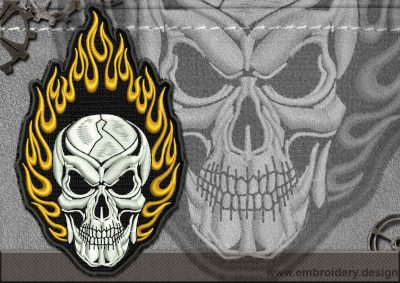 This Biker patch Fiery Skull design was digitized and embroidered by www.embroidery.design.