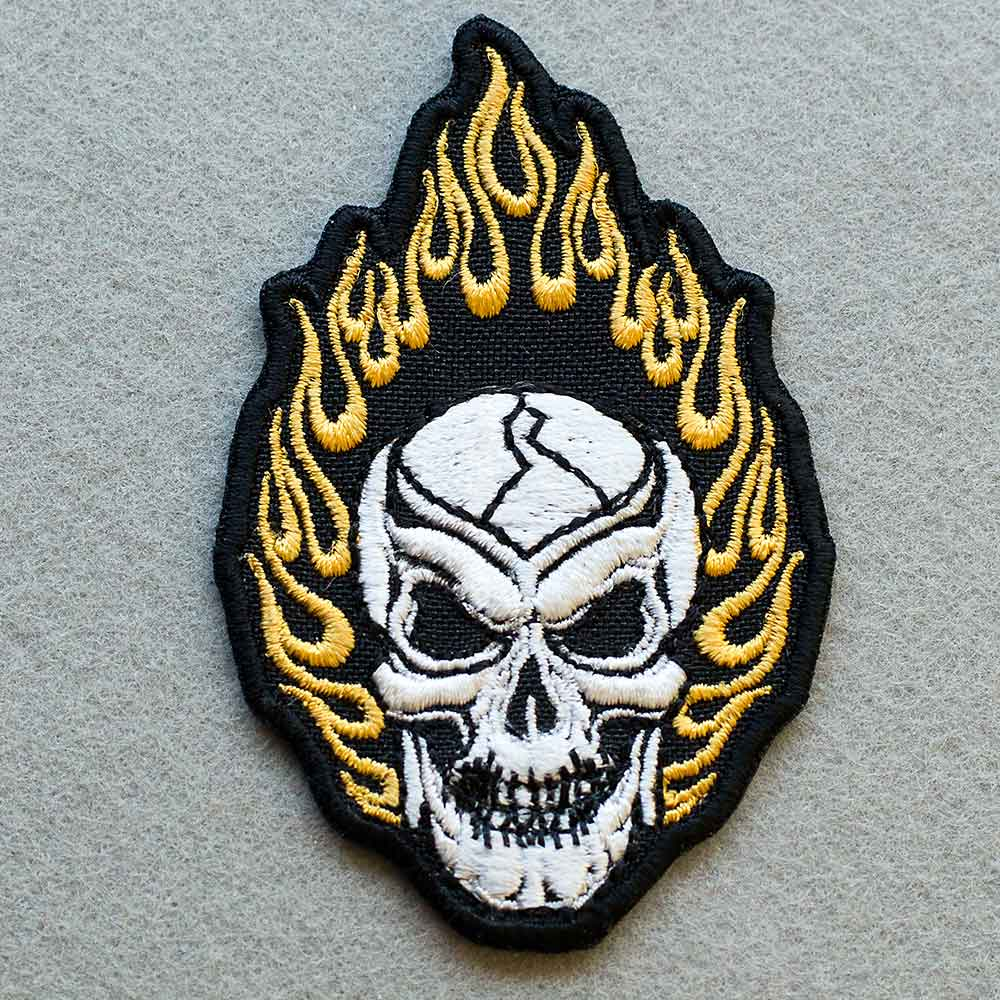 Biker patch fiery skull