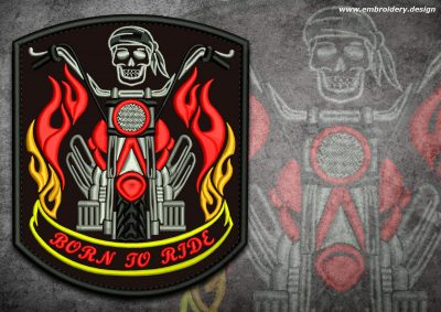 This Biker patch Flamy motorbike design was digitized and embroidered by www.embroidery.design.