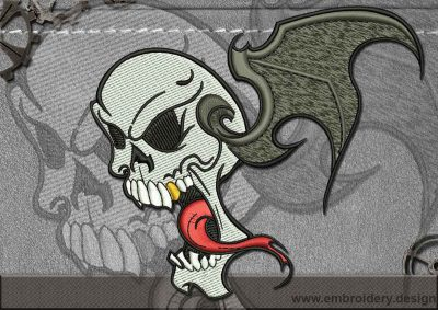 This Biker patch The Flying Skull design was digitized and embroidered by www.embroidery.design.