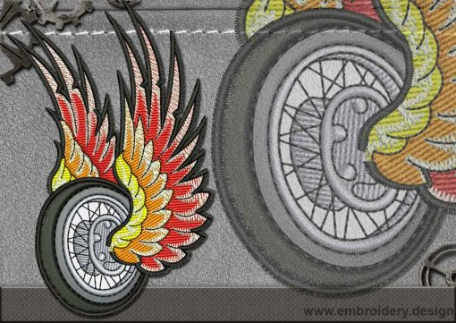 This Biker patch The Flying Wheel design was digitized and embroidered by www.embroidery.design.