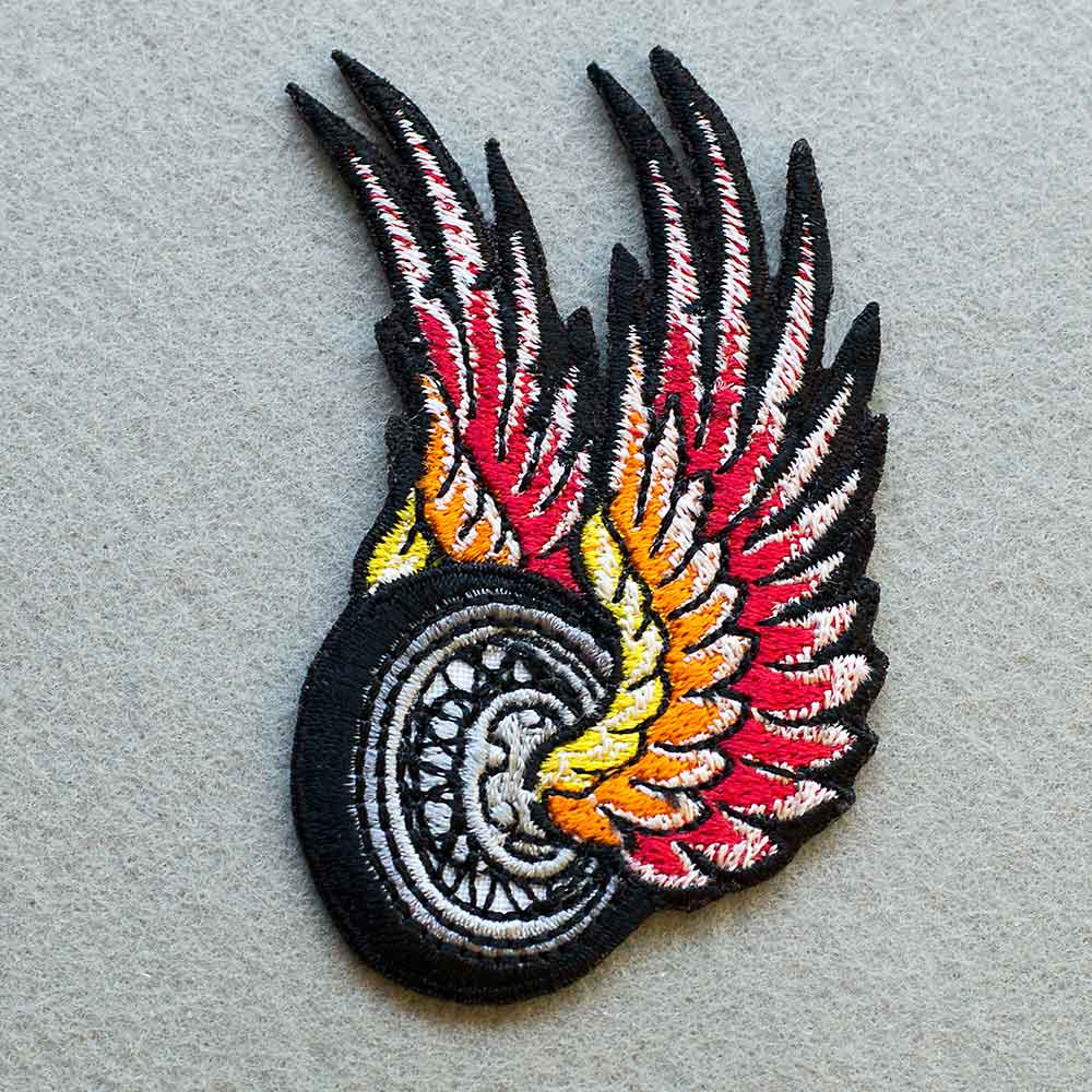 Photo 1 - This The Flying Wheel Biker patch (biker_patch_flying_wheel_bike_photo.jpg) - www.embroidery.design