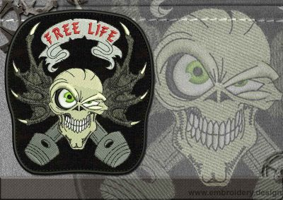 This Biker patch Free Life Skull design was digitized and embroidered by www.embroidery.design.