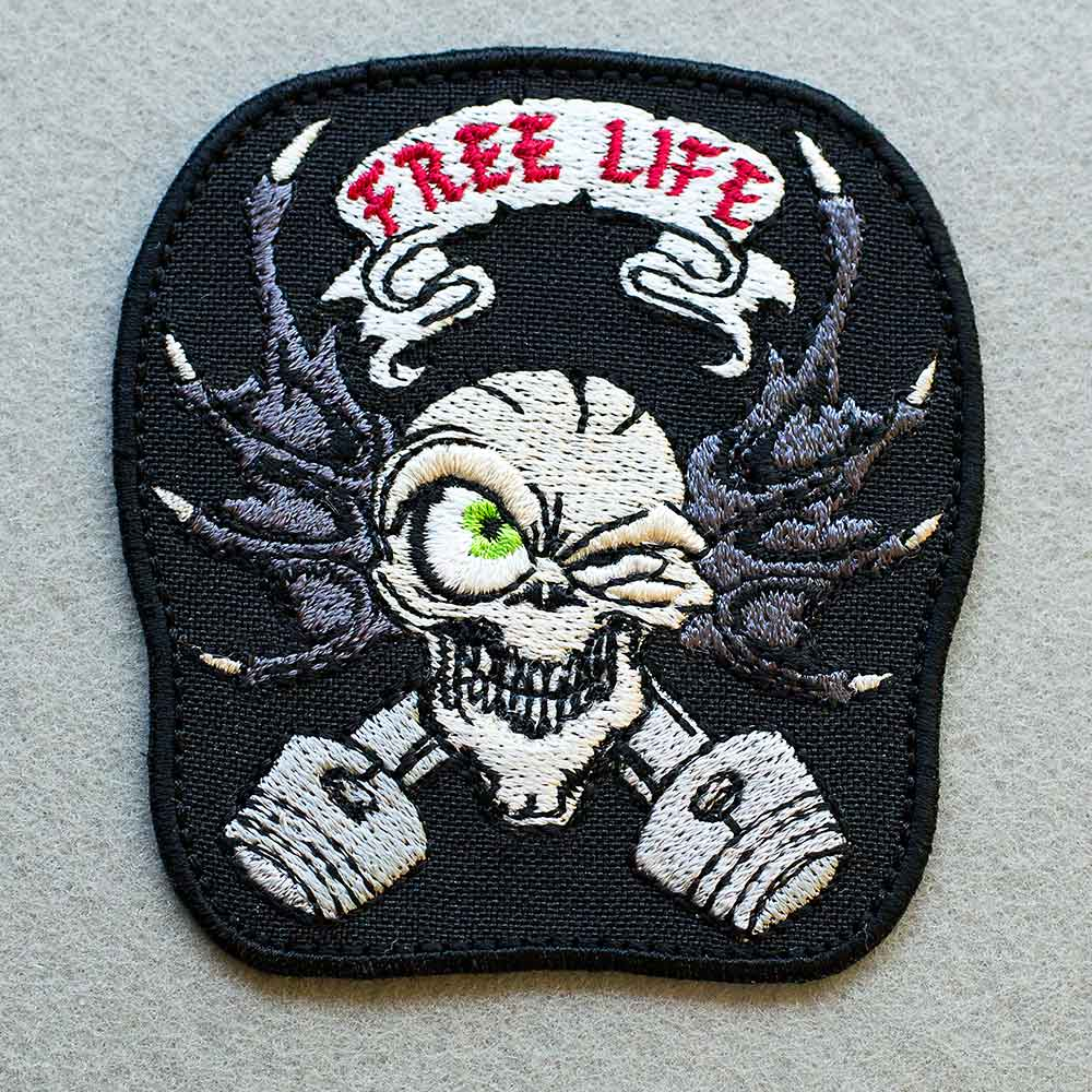 Photo 1 - This Free Life Skull Biker patch (biker_patch_free_life_skull_bike_photo.jpg) - www.embroidery.design