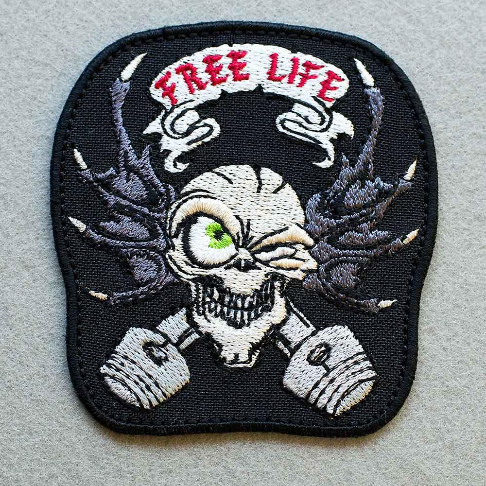 Biker Patch Free Life Skull