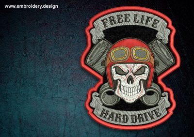 This Biker patch Free life, transparent background design was digitized and embroidered by www.embroidery.design.