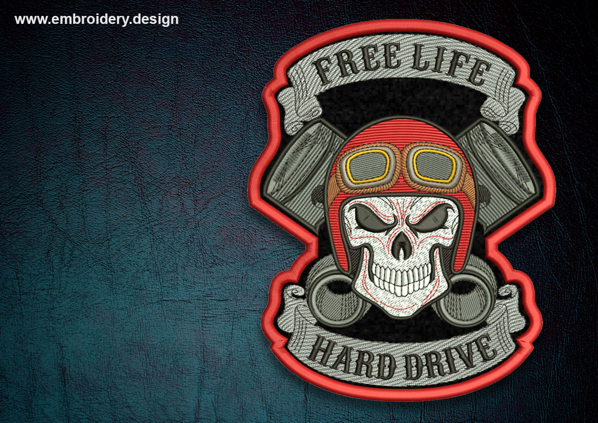 This Biker Patch Free Life Transparent Background Design Was Digitized And Embroidered By