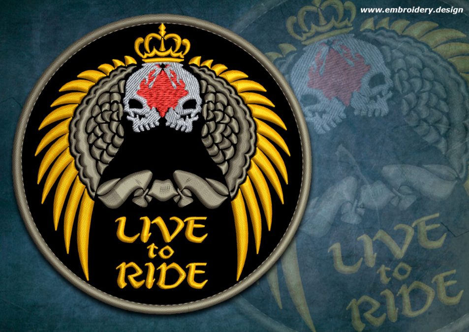 Biker patch Golden wings with crown