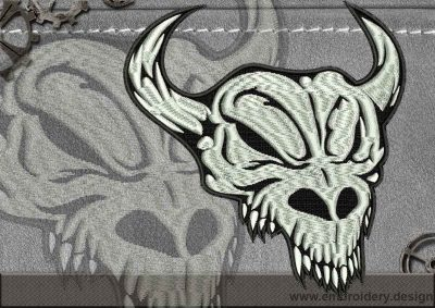 This Biker patch Horned Skull design was digitized and embroidered by www.embroidery.design.