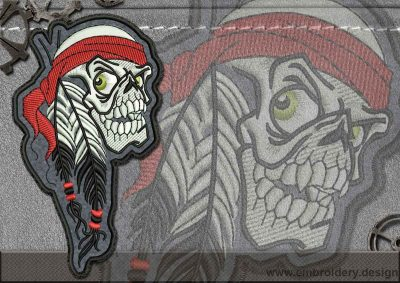 This Biker patch Indian Skull design was digitized and embroidered by www.embroidery.design.