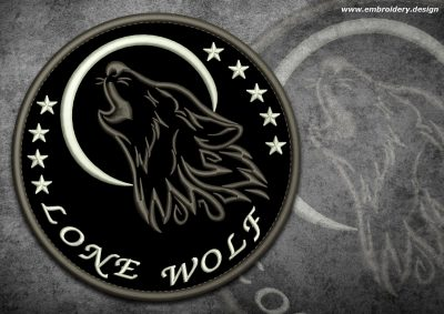 This Biker patch Lone wolf howling at the moon design was digitized and embroidered by www.embroidery.design.