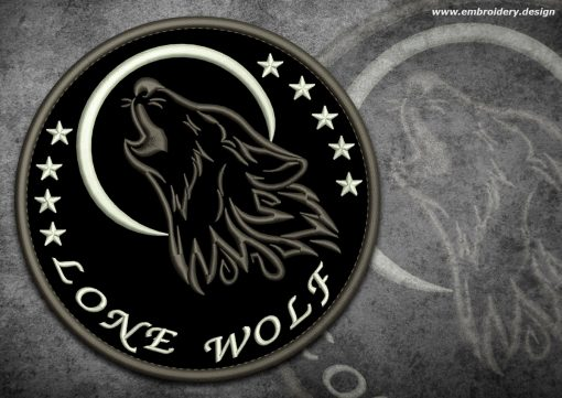 This Biker patch Lone wolf howling at the moon