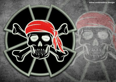 This Biker patch Pirate skull design was digitized and embroidered by www.embroidery.design.