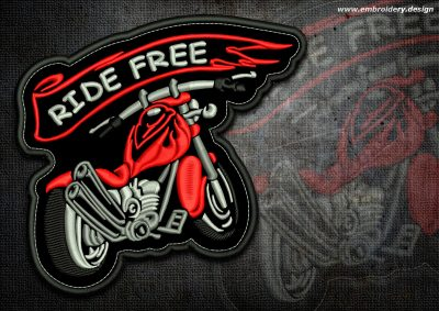 This Biker patch Red motorbike design was digitized and embroidered by www.embroidery.design.