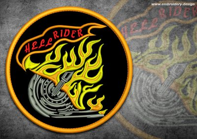 This Biker patch Rider in flame design was digitized and embroidered by www.embroidery.design.