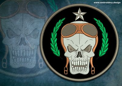 This Biker patch Skull aviator design was digitized and embroidered by www.embroidery.design.
