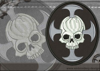 This Biker patch Skull with a Cross design was digitized and embroidered by www.embroidery.design.