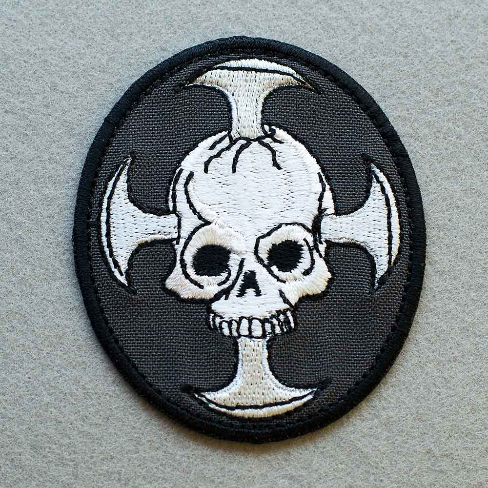Photo 1 - This Skull with a Cross Biker patch (biker_patch_skull_cross_bike_photo.jpg) - www.embroidery.design