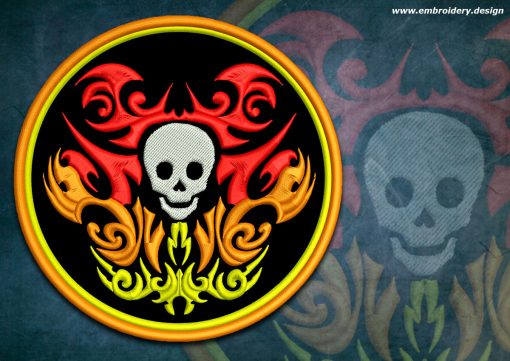 This Biker patch Skull in fire design was digitized and embroidered by www.embroidery.design.