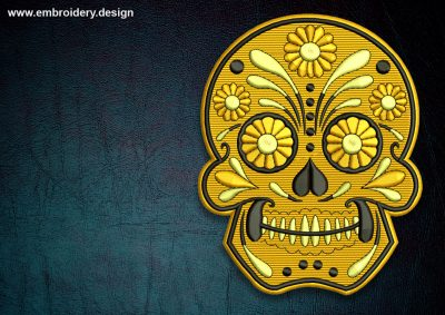 This Biker patch Skull with flowers design was digitized and embroidered by www.embroidery.design.