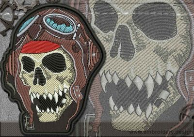 This Biker patch Skull in a Helmet design was digitized and embroidered by www.embroidery.design.