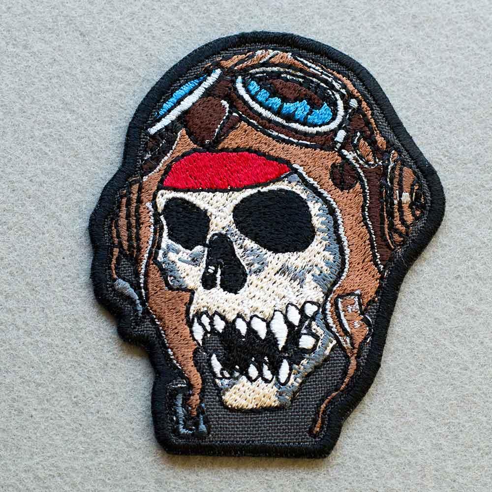 Photo 1 - This Skull in a Helmet Biker patch (biker_patch_skull_helmet_bike_photo.jpg) - www.embroidery.design
